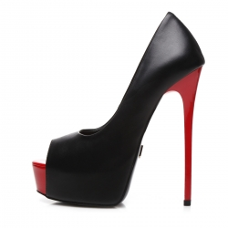 Giaro GALANA peep toe black platform pumps with red stiletto