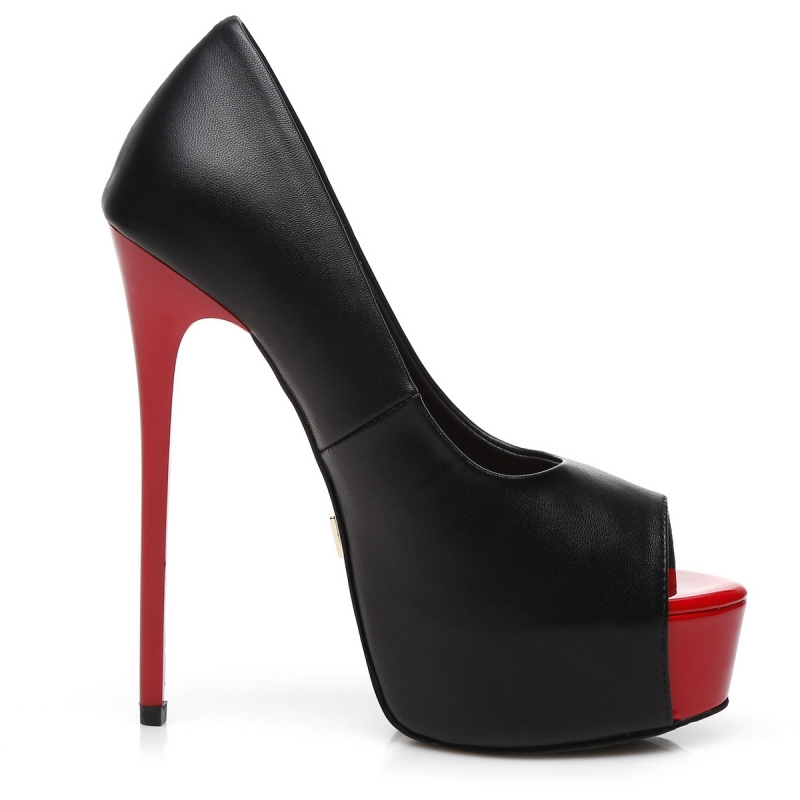b20d235a9772 Giaro GALANA peep toe pumps with red platform and heel