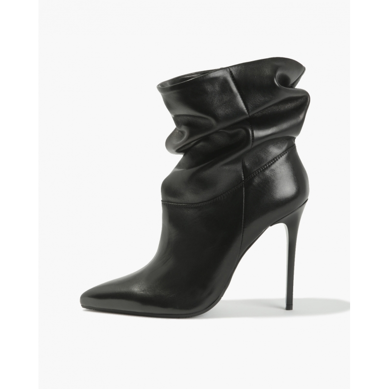 Badura JAZMIN black wrinkled ankle boots, natural leather, high heels