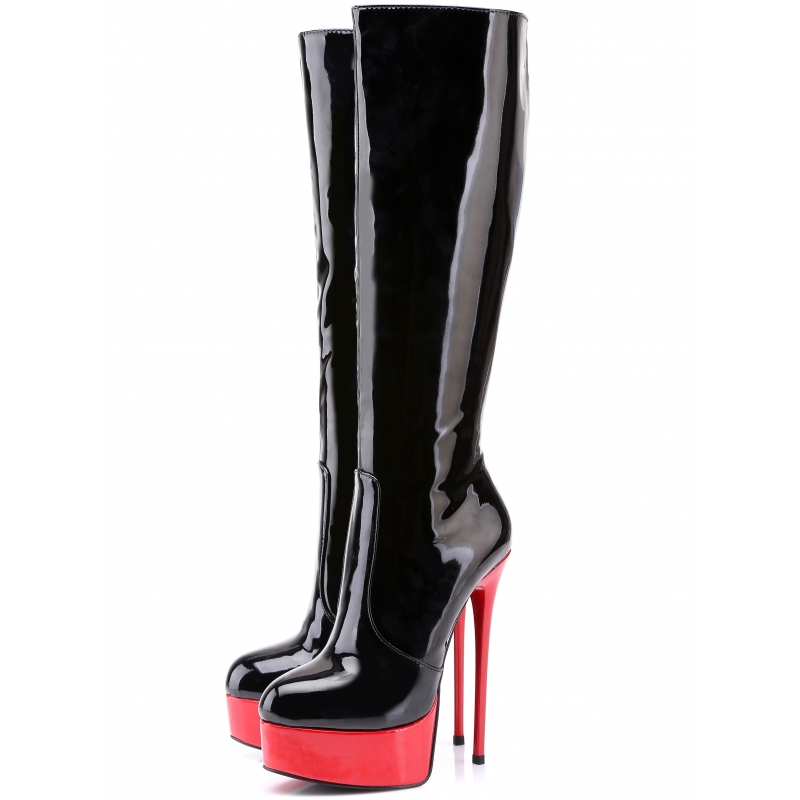 8219ed41194 Giaro GALANA black shiny boots with red platform