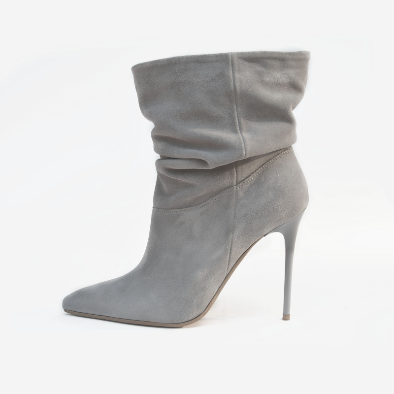 b5d945f82 Grey ankle boots, stiletto heels, pointed toe, suede natural leather