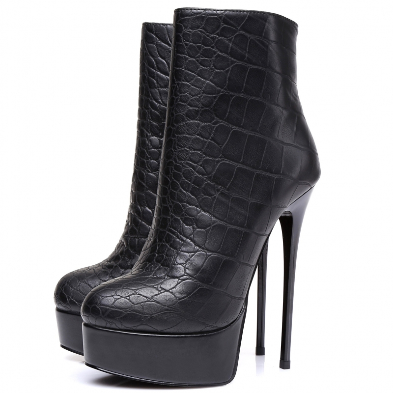 Giaro ankle high heels boots with crocodile pattern