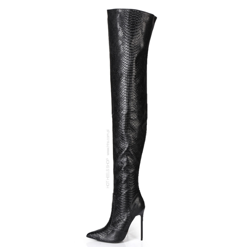Giaro ZAZU snake black over-the-knee high heel boots