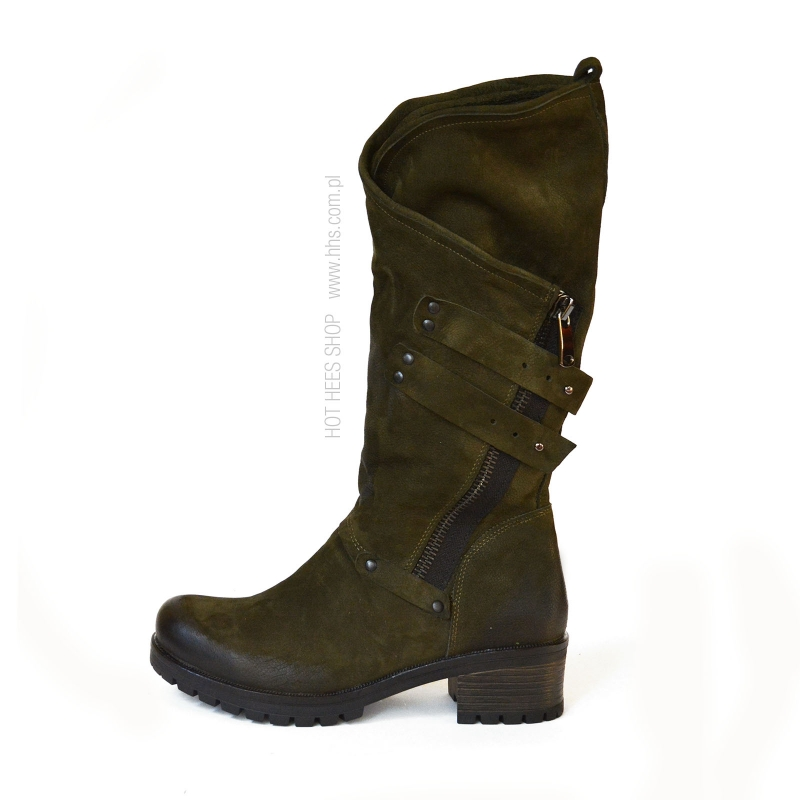 Badura Harley olive green boots - motorcycle style