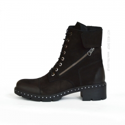 Badura black suede militarny boots with crystals