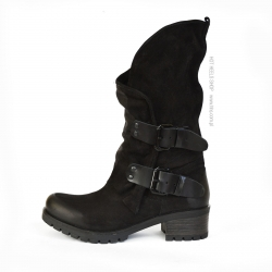 Badura Harley black motorcycles style boots with straps