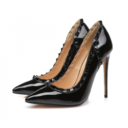 Giaro GLORY black shiny pumps with black studs