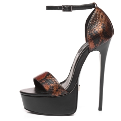 Giaro GALANA wonderful combination of black and gold snake. Amazing platform sandals and high heels.