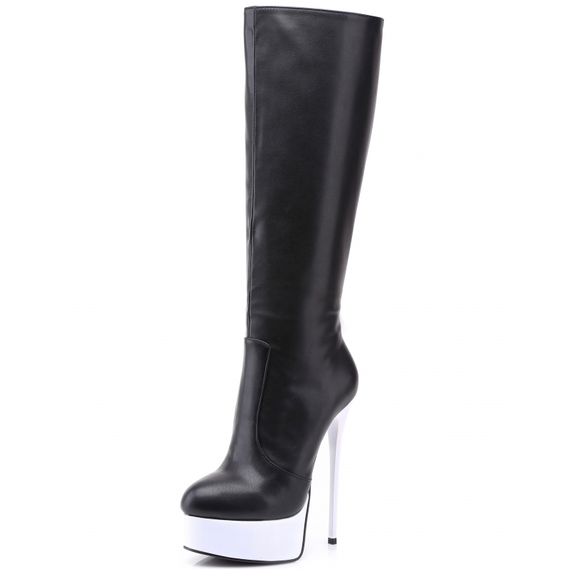 62cdaec5c424 Giaro GALANA black knee boots with white platform and heel