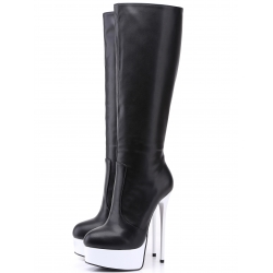 Giaro GALANA black leather look with white shiny platform boots
