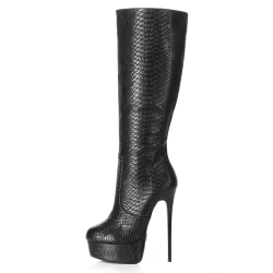 Giaro GALANA knee high boots with a snake skin pattern