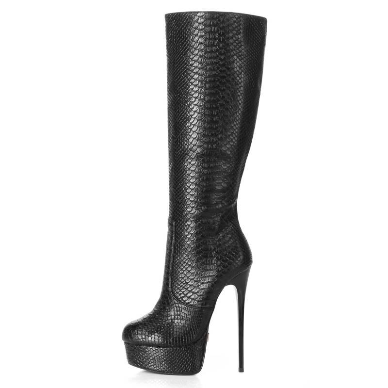 Giaro high heeled boots with a snake skin pattern