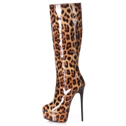 Giaro GALANA knee high boots with a leopard pattern