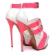 Giaro SIENNA white platform sandals with pink straps