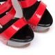 Giaro SIENNA black red shiny high heel sandals