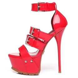 Giaro SIENNA red shiny platform sandals with wide straps