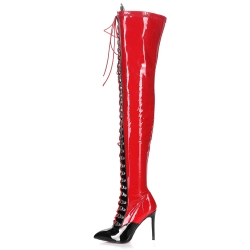 Giaro VERUSKA red and black laced up overknee boots