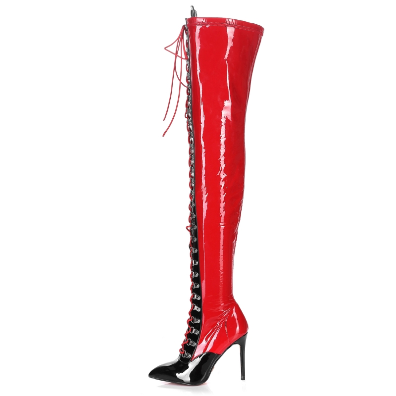 Giaro VERUSKA red and black shiny lace up boots