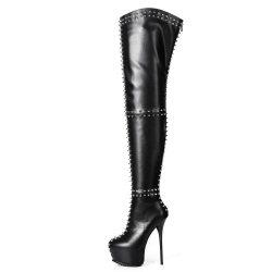 Giaro SOPHIA black thigh high boots with silver spikes