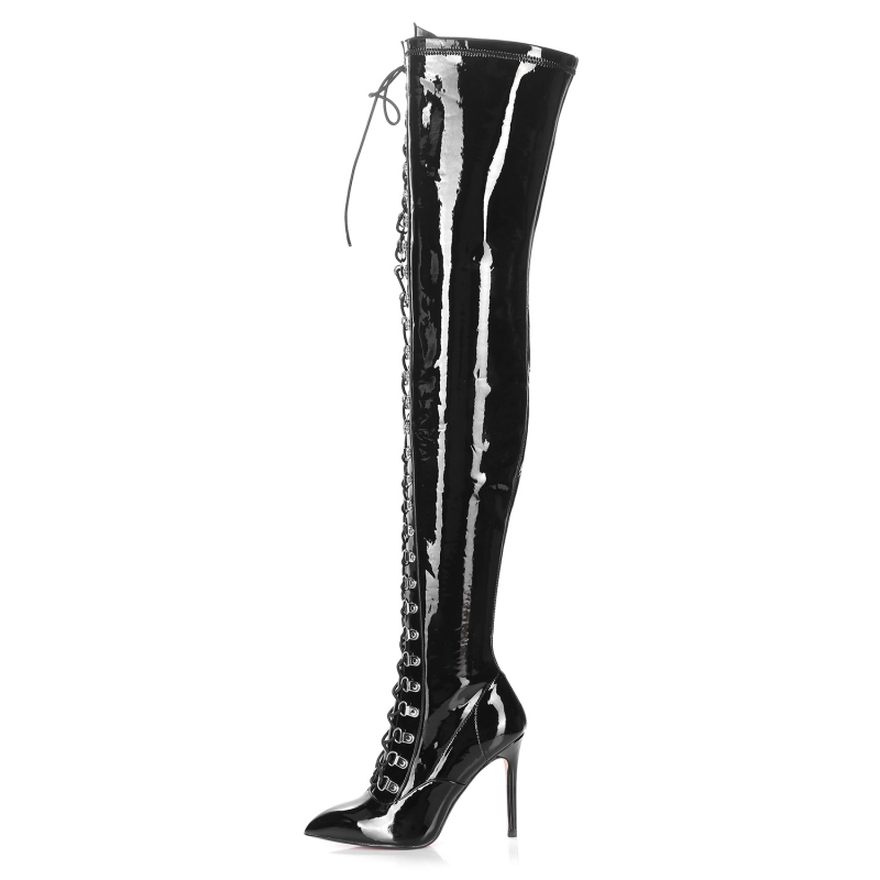 Giaro VERUSKA black shiny thigh high boots with lace up
