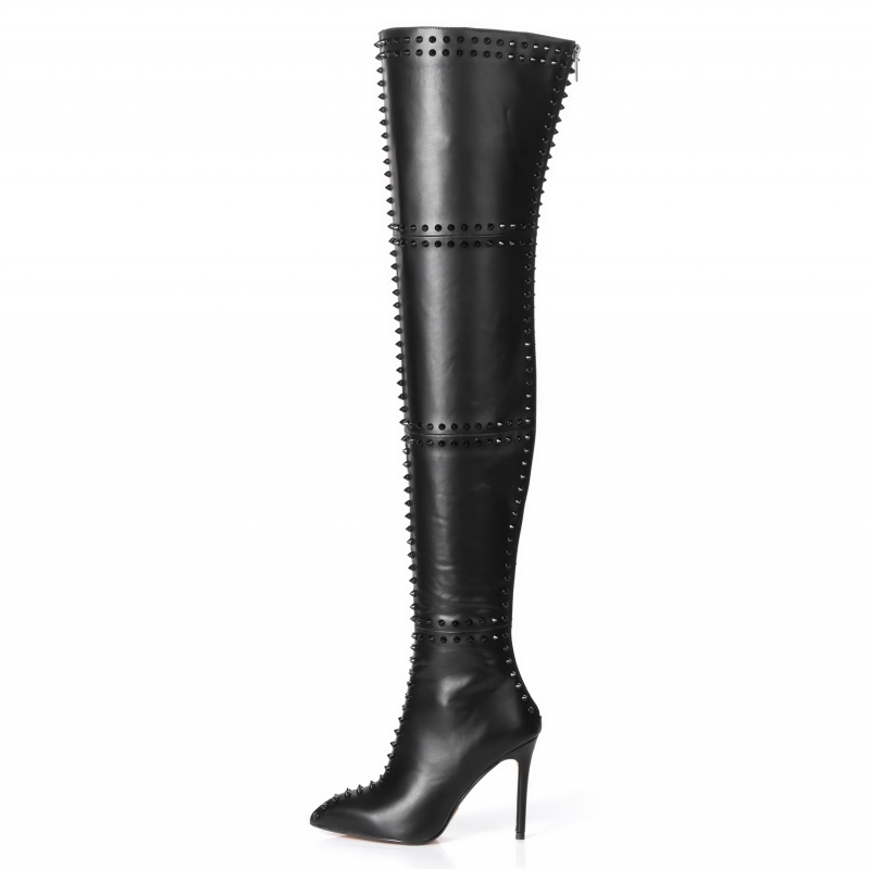 Giaro LUNA black thigh high boots wit rivets