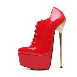 Slick HYPNOTIC red shiny ankle platform boots