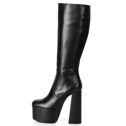 Ellie Tailor EMMY black platform boots with solid wide heel