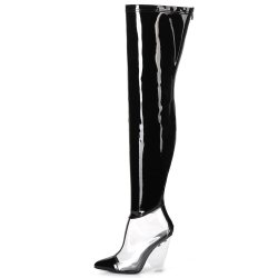 Giaro FASCINATE black patent leather knee boots with a transparent insert and a transparent wedge-heel
