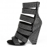 Giaro CLIFF black velour sandals with shiny crystals