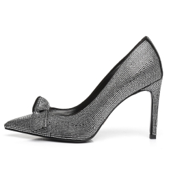 Giaro MADELINE black velour pumps with silver crystals