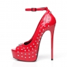 Giaro MIRA red shiny peep pumps with silver rivets