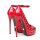 Giaro MIRA red shiny peep toe platform pumps with silver rivets