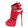 Giaro MULTISSIMA studded sandals red shiny straps