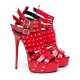 Giaro MULTISSIMA studded high heel sandals with red shiny straps