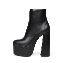 Ellie Tailor ANTONIA black platform booties with solid wide heel