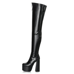Ellie Tailor ROOKIE black thigh high boots with solid wide heel