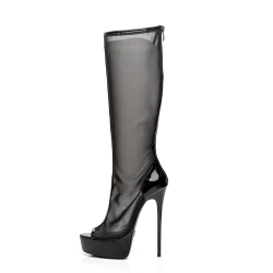 Giaro black mesh high heel boots
