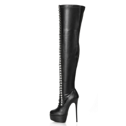 Giaro DOMINIQUE thigh high boots with decorative lacing on the front