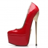 SLick HERO red shiny pumps with gold stiletto