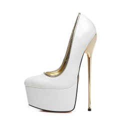 SLick HERO white shiny platform pumps with gold stiletto