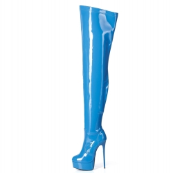 Giaro blue shiny over the knee platform boots