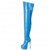 Giaro blue shiny platform boots with high heels