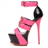 Giaro SIENNA black with pink straps shiny platform sandals
