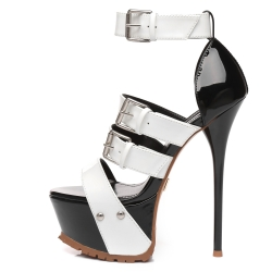 Giaro SIENNA black and white shiny stiletto sandals