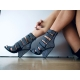 Giaro CLIFF black velour sandals with shiny crystals on block heel