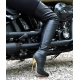 Giaro BIGGER black leather look over the boots with gold heel