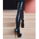 Giaro black matt tight high boots with stilettos