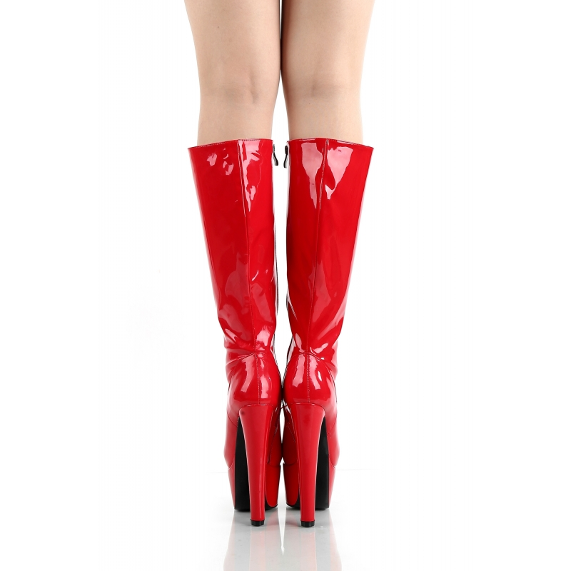 527ecdd5964 Giaro DESTROYER Red shiny boots witch chunky heels - Hot Heels Shop