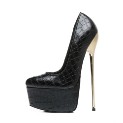 Slick Escala extremely high pumps with crocodile skin pattern