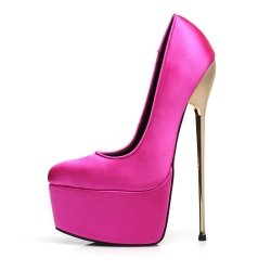 Slick Escala extremely high pumps in fuchsia satin